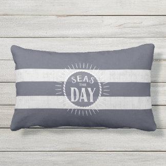Coast Lover's Seas the Day Beach Bum Navy Striped Lumbar Pillow