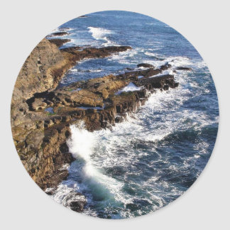 Coast Ocean Round Stickers