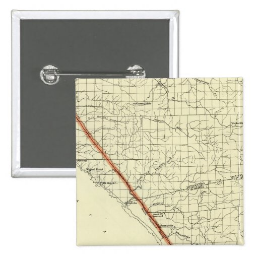 Coast of California showing San Andreas Rift 2 Inch Square Button