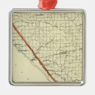 Coast of California showing San Andreas Rift Metal Ornament