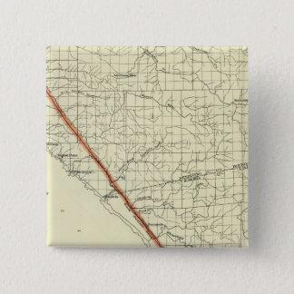 Coast of California showing San Andreas Rift Pinback Button