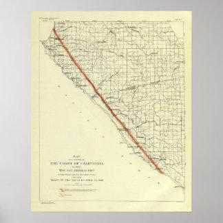 Coast of California showing San Andreas Rift Poster