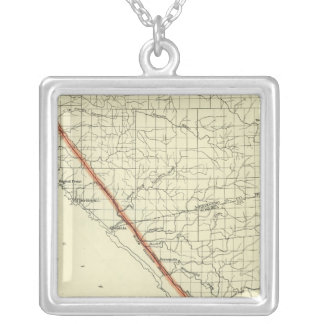 Coast of California showing San Andreas Rift Square Pendant Necklace