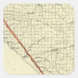 Coast of California showing San Andreas Rift Square Sticker