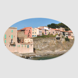 Coast of Collioure in France Oval Sticker