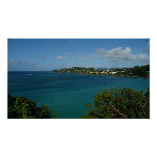 Coast of St. Lucia Caribbean Vacation Photo Poster