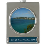 Coast of St. Lucia Silver Plated Banner Ornament