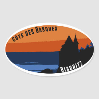 Coast of the Biarritz Basques Oval Sticker