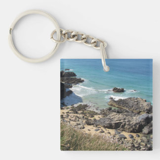 Coast Path nr Padstow, Cornwall Acrylic Key Ring Double-Sided Square Acrylic Keychain
