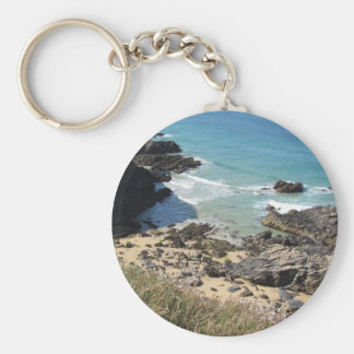 Coast Path nr Padstow, Cornwall Photo Key Ring Basic Round Button Keychain