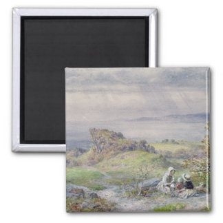 Coast Scene with Children in the Foreground 2 Inch Square Magnet
