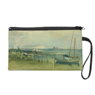 Coast Scene with White Cliffs and Boats on Shore ( Wristlet Clutch
