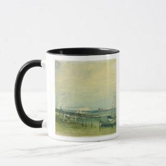 Coast Scene with White Cliffs and Boats on Shore ( Mug