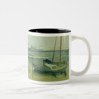 Coast Scene with White Cliffs and Boats on Shore ( Two-Tone Coffee Mug