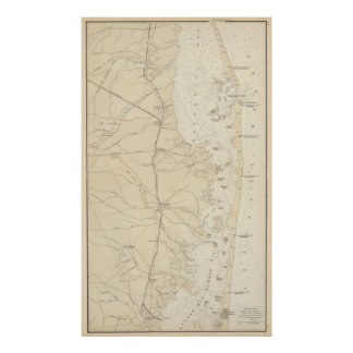 Coast section Barnegat Bay to Tuckerton Chart Map Poster