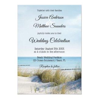 Coast with Dunes Beach Wedding Invitation