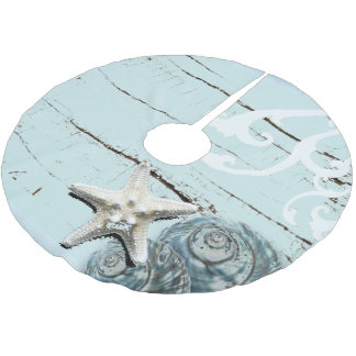 Coastal aqua blue beach wood starfish seashell brushed polyester tree skirt