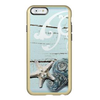 Coastal aqua blue beach wood starfish seashell incipio feather shine iPhone 6 case