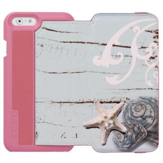 Coastal aqua blue beach wood starfish seashell iPhone 6/6s wallet case