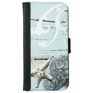 Coastal aqua blue beach wood starfish seashell wallet phone case for iPhone 6/6s