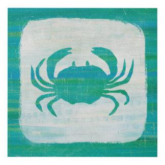 Coastal   Aqua Crab Panel Wall Art