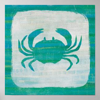 Coastal   Aqua Crab Poster