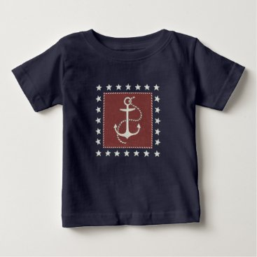 USA Themed Coastal Art | Anchor on Red Baby T-Shirt