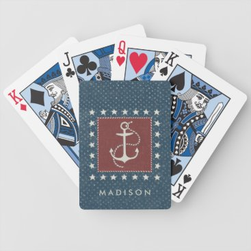 USA Themed Coastal Art | Anchor on Red Bicycle Playing Cards