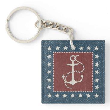 USA Themed Coastal Art | Anchor on Red Keychain