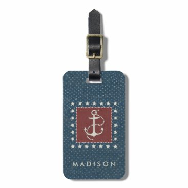 USA Themed Coastal Art | Anchor on Red Luggage Tag