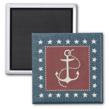 USA Themed Coastal Art | Anchor on Red Magnet