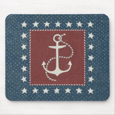 USA Themed Coastal Art | Anchor on Red Mouse Pad