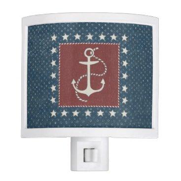 USA Themed Coastal Art | Anchor on Red Night Light