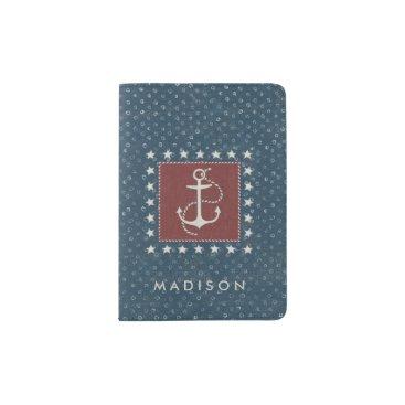 USA Themed Coastal Art | Anchor on Red Passport Holder