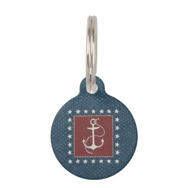 USA Themed Coastal Art | Anchor on Red Pet ID Tag