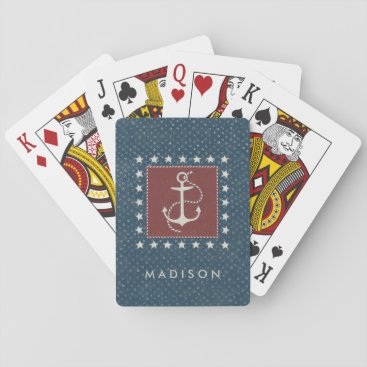 USA Themed Coastal Art | Anchor on Red Playing Cards
