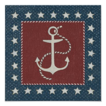 USA Themed Coastal Art | Anchor on Red Poster