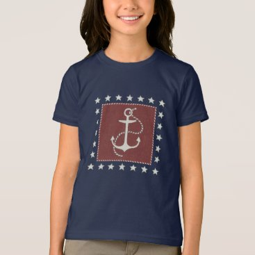 USA Themed Coastal Art | Anchor on Red T-Shirt