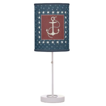 USA Themed Coastal Art | Anchor on Red Table Lamp