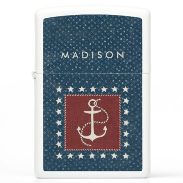 USA Themed Coastal Art | Anchor on Red Zippo Lighter