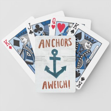 USA Themed Coastal Art | Anchors Away Bicycle Playing Cards