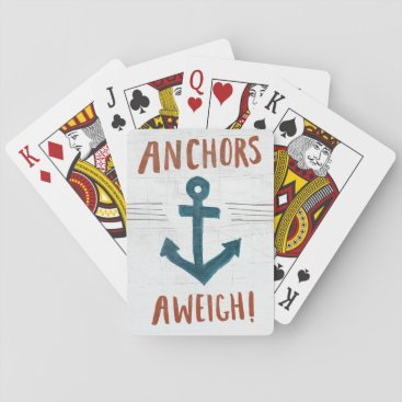 USA Themed Coastal Art | Anchors Away Playing Cards