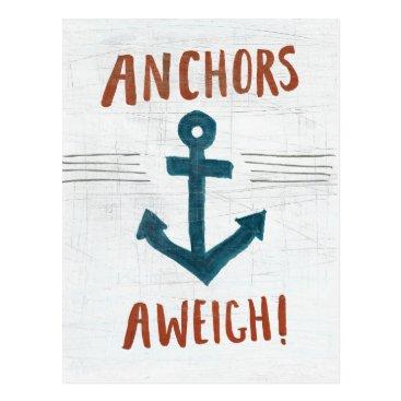 USA Themed Coastal Art | Anchors Away Postcard