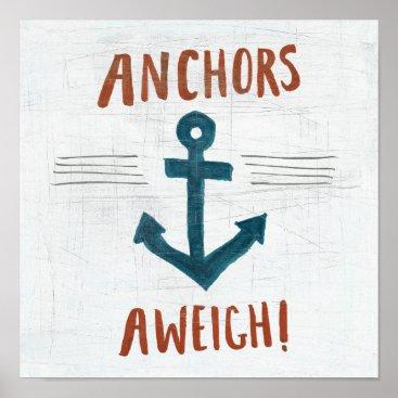 USA Themed Coastal Art | Anchors Away Poster