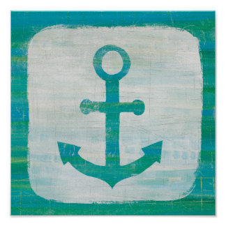 Coastal Art | Aqua Anchor Poster