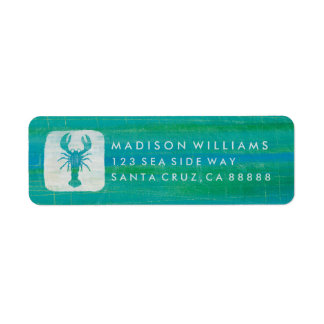 Coastal Art | Aqua Lobster Label