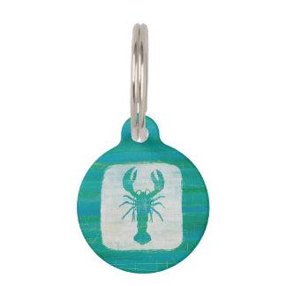 Coastal Art | Aqua Lobster Pet Name Tag