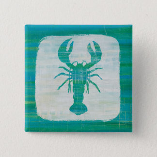 Coastal Art | Aqua Lobster Pinback Button