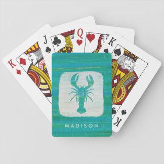 Coastal Art | Aqua Lobster Playing Cards