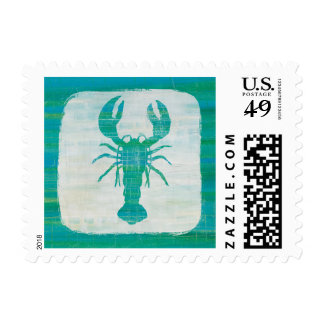 Coastal Art   Aqua Lobster Postage
